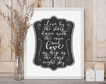 Simple black and white printable wall art Stars and moon quote print Love sign Star nursery wall art printable Star quote print Home decor