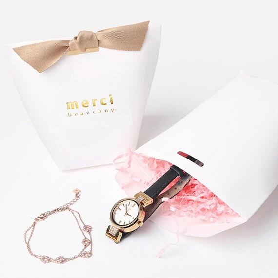 3 x Gift bag SET White Medium Merci Beaucoup Party favor