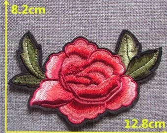 """Red Rose Flower Iron on Embroidered patch (L=3.0"""" W=5.0"""")"""