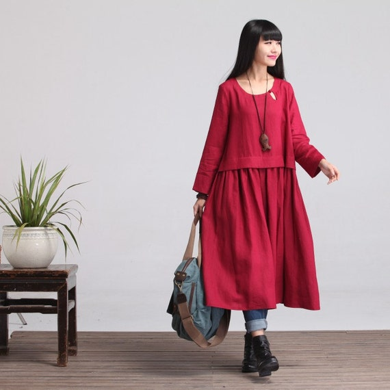Loose Fitting Maxi Dress   Maternity Clothes In Red  Long Sleeved Linen Gown For Women by Etsy