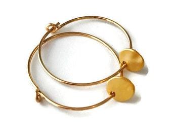 Gold Coin Earrings, Gold Disk Earrings, Charm Earrings, Minimalist Earrings, Hoop Earrings, Coin Earrings