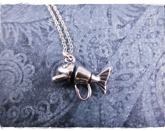 Silver Fishing Lure Necklace - Sterling Silver Fishing Lure Charm on a Delicate Sterling Silver Cable Chain or Charm Only