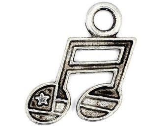 12 Music Notes Charms / Pendant Antique Silver Tone CP170