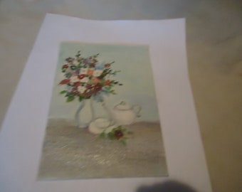 "Vintage Painting Of A Tea Setting With Flowers In Vase On Plyex Canvas Foundation Board, 5"" x 7"", collectable"