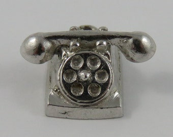 Rotary Dial Telephone Sterling Silver Vintage Charm For Bracelet