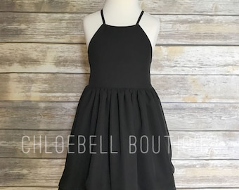 Little Black dress - Black chiffon dress - Girls dress - Formal Toddler chiffon dress - Special Occasion dress - Little Black Dress