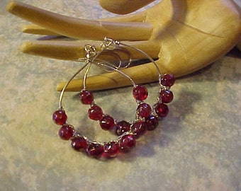 GLASS BEAD, WIRED Earrings~~Lovely, Red Glass beads wired on silver tone hoops~~For pierced Ears