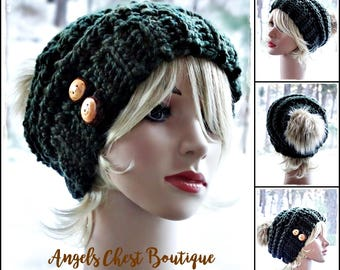 The SAWTOOTH Slouchy Hat with wooden buttons - Green Moss - Crochet Slouch Beanie Hat by AngelsChest -