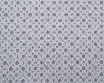 Gray polka dots and geometric patterns, 110 cm wide