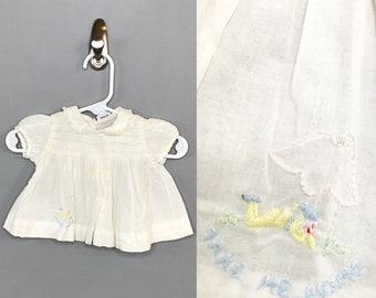 "1950s Coming Home Girl's Outfit / Vintage Newborn Embroidered ""Take Me Home"" Dress / 0-3 month Baby Girl Cotton Dress"