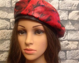 Red Leather Woman Beret  Fashion Syle  Beret Size 55-59
