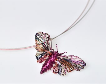 Butterfly necklace for women, wire wrapped, art pendant, rainbow, fuchsia, cute, nature necklace, modern hippie, Spring gift for girlfriend