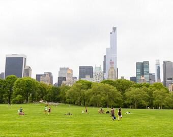 New York City Photography, Central Park Print, NYC Manhattan Art, Urban Skyline Wall Art, Wanderlust, Travel Photo, Sheeps Meadow Picnic