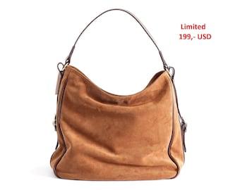 Suede leather handbag tan with dark brown leather handle soft suede leather bag with a generous amount of storage space