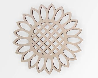 Wooden Shape Sunflower  - Flower  Cut Out, Flower Wall Art, Home Decor, Wall Hanging, Unfinished and Available from 2 to 42 Inches