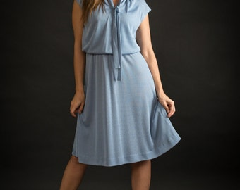 Vintage Baby Blue Tie Neck Dress (Size Small/Medium