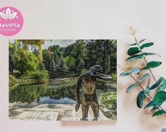 Pond art print, pond decor, sculpture garden print, city park print, garden pond, park giclee print, water garden, park wall art, pond art