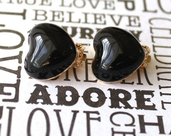 Black heart clip on gold earrings CLEARANCE