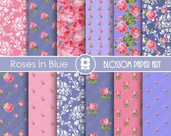 Blue Digital Paper Pack, Pink Scrapbooking, Floral Papers, Blue Papers - Vintage Designs - 1775