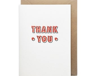Thank you card, letterpress, handmade - Neon thank you