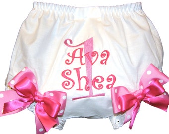 Personalized  Birthday Baby Girl Diaper Cover Bloomers Pink on Pink Double Bows