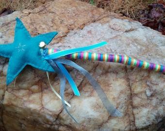 Turquoise Magic Star Fairy Princess Wand READY TO SHIP