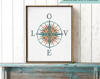 Boho Compass Rose, Let Love Be Your Guide printable, Bohemian LOVE Digital Print