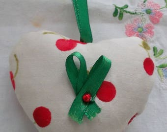 Cherry print fabric Lavender heart