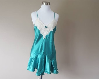 S / Victoria's Secret / GOLD LABEL /  Chemise Slip Dress / Green / Vintage / Small