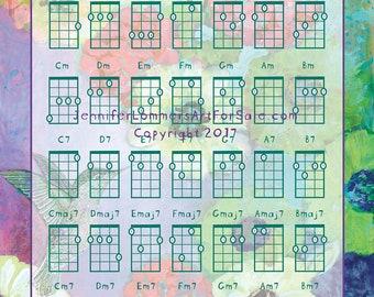 Hummingbird Basic Ukulele Chord Chart 8x10 with Art by Jenlo