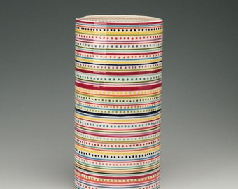 """Large Stripes and Dots Vase and Wine Cooler Cylinder 12"""" Tall Hand Painted"""