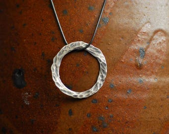 Silver Circle Pendant, Disc Necklace, Layering Jewelry, Long Necklace, Hammered Texture, Dainty Jewelry, Unique Unusual