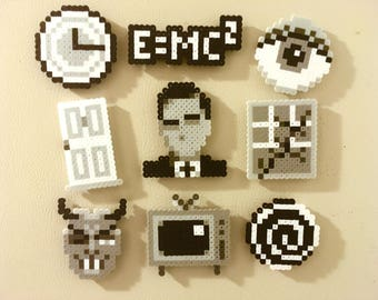 Twilight Zone Retro Magnets Perler Bead Pins 8 bit Pixel Art