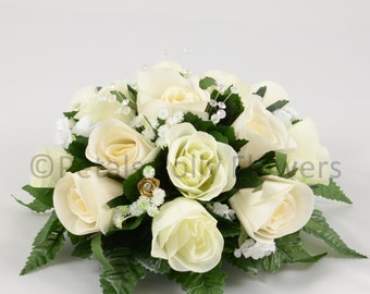 Silk Wedding Flowers, Ivory & Gold Rose Table Centre Decoration