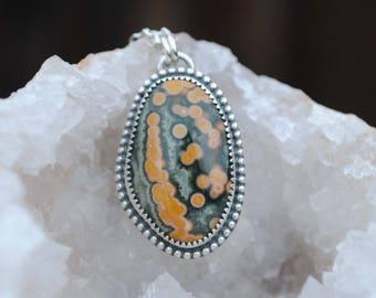 Sterling Silver Ocean Jasper Necklace, Ocean Jasper Pendant Jewelry