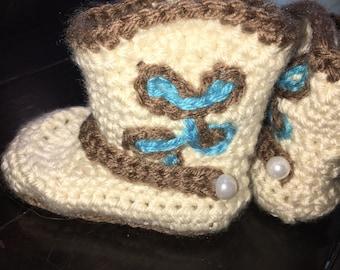Homemade crochet cowboy boots 6-12 months