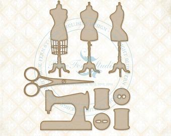 Blue Fern Studios Laser Cut Chipboard Miss Tailor Set 9 Piece Sewing Set