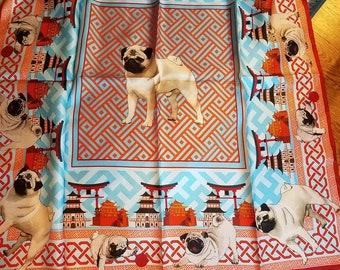 Pug Silk Scarf Unique Silk Scarf Dog Scarf Rolled Edge Scarf