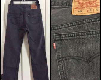 Vintage Levi's Black denim 501 32X32 Button Fly Jeans 1980's Mens made in USA Grunge Boyfriend #1214