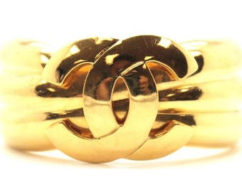 Chanel #14937 Extra Wide Cc Cuff Bangle Bracelet