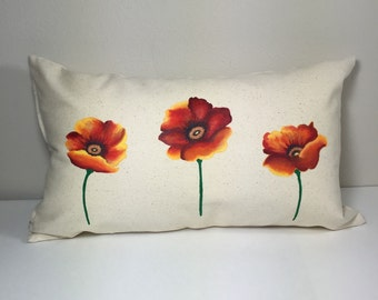 Throw Pillow Cover, Accent Pillow, Hand Painted Red Poppies