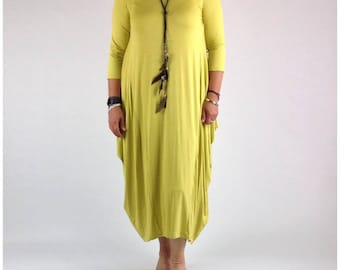 Lagenlook Dress Tunic Stretchy Viscose Quirky Plus Size 14 16 18 20 22 in Yellow