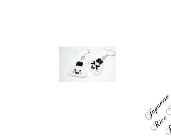 Mini Japanese Rice Ball PATTERN, Happy & Grumpy Onigiri, Kawaii Musubi Earring Design, Delica Seed Beads 11/0