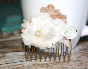 Flower Hair Comb, Fabric Flower Hair Comb, Hair Accessories, Bridal Hair Piece, Wedding Accessories