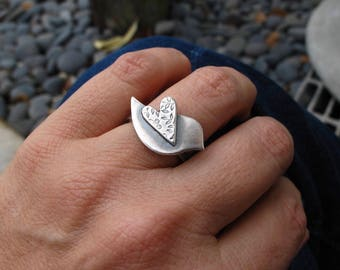 Love Bird ring - sterling silver