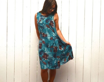 90s Hawaiian Print Dress Blue Floral Beach Dress Vintage Sun Dress Vivoli Large L / Extra Large XL
