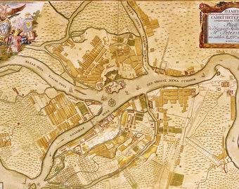 Antique map of Sankt Peterburg, 1737, very rare map, fine art print