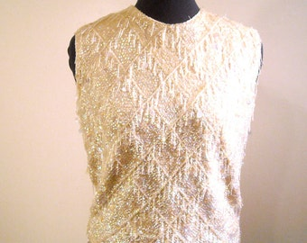Beaded Wool Top 1960s Iridescent Sequin Ivory Sleeveless Sweater Formalwear Holiday Fashion Silk Lining