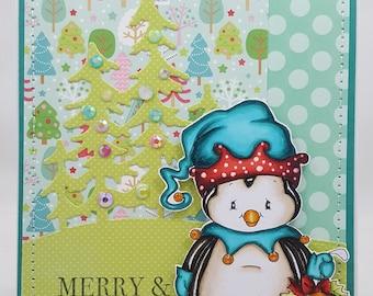 Handmade Card, Greetings, Gift, Christmas, Winter, Penguins - Christmas Penguin