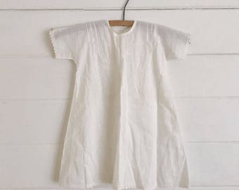 Handmade 1940s Vintage Sheer White Cotton Baby Dress - Size 12m